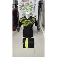 Kostum Kaos Sepakbola Futsal Volly Takraw M L XL Hijau/Merah/Biru/Kuning Hitam Plus Celana Pendek 23..5
