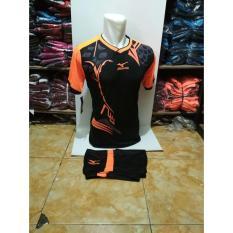 Kostum Kaos Sepakbola Futsal Volly Takraw M L XL Hitam Orange Plus Celana Pendek 22.16