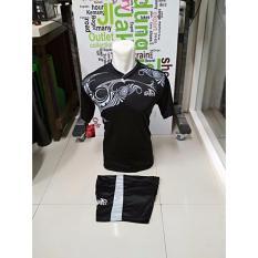 Kostum Kaos Sepakbola Futsal Volly Takraw M L XL Hitam Plus Celana Pendek 21.28