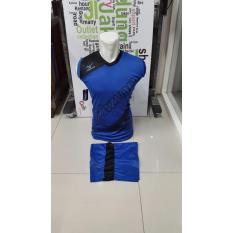 Kostum Singlet Kaos Sepakbola Futsal Volly Takraw Bahan Dryfit M L XL Biru Plus Celana Pendek 24.5