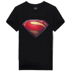 Kualitas Baik dan 100% Katun Superman Karikatur Pria Fashion T-shirt-nya (hitam)
