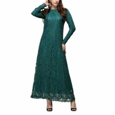 Kuhong Wanita Muslim Lengan Panjang Gaun Islam Wanita Gaun Jubah Kaftan Maroko Mode Gaun Renda Hijau-Intl