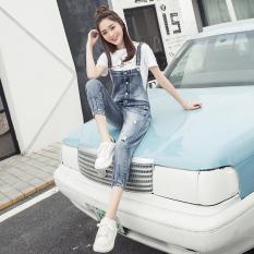LOOESN college style spring New style slimming cowboy strap pants (Cahaya biru) baju wanita celana wanita celana jeans wanita