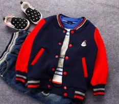 Jual Jaket Bisbol Kaos Sweater Gaya Kampus Model Musim Semi Anak Laki Laki Anak Anak Biru Tua Di Bawah Harga