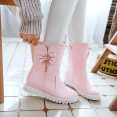 Kulit Anak Perempuan Musim Gugur Sepatu (Merah Muda)