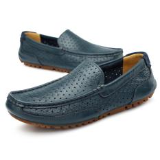 Kulit Asli Pria Sandal Lubang Pantai Sepatu Super Bernapas Perjalanan Sepatu Mengemudi Sepatu Kulit Asli Doug Sepatu Biru