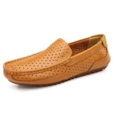 Kulit Asli Pria Sandal Lubang Pantai Sepatu Super Bernapas Perjalanan Sepatu Mengemudi Sepatu Kulit Asli Doug Sepatu Kuning