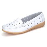 Spek Sepatu Suster Kulit Sepatu Kets Putih Berongga Bernapas Datar Putih Musim Panas Berongga Tiongkok