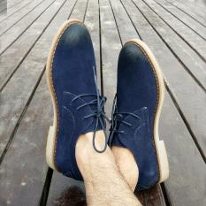 Kulit Bisnis Inggris Renda Sepatu Pria Baru Sepatu Pria (Gosok Kokas Angkatan Laut Biru)