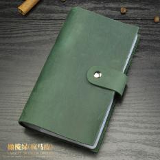 Kulit Laris Pria Ukuran Kecil Dompet Kartu Kartu Penahan (SG066 Olive Hijau)