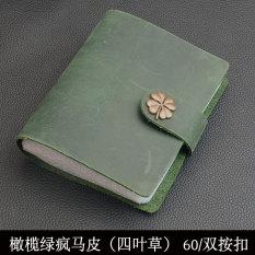 Kulit Laris Pria Ukuran Kecil Dompet Kartu Kartu Penahan (SG066 Olive Hijau Semanggi Gesper 60