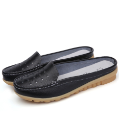 Diskon Produk Sepatu Sandal Wanita Kulit Asli Sol Datar Sol Lunak Bagian Ujung Tertutup San Hitam Berongga 115