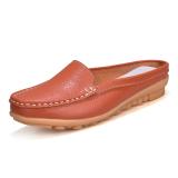 Sepatu Sandal Wanita Kulit Asli Sol Datar Sol Lunak Bagian Ujung Tertutup San Oranye Diskon Tiongkok