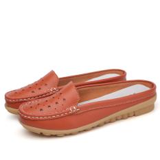 Sepatu Sandal Wanita Kulit Asli Sol Datar Sol Lunak Bagian Ujung Tertutup San (Oranye (berongga 115))