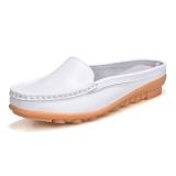 Jual Beli Sepatu Sandal Wanita Kulit Asli Sol Datar Sol Lunak Bagian Ujung Tertutup San Putih Di Tiongkok