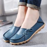 Diskon Kulit Musim Semi Dan Musim Gugur Permukaan Yang Lembut Sepatu Hak Perempuan Sepatu Kulit Kacang Cahaya Biru