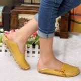 Beli Kulit Kulit Musim Semi Dan Musim Panas Permukaan Yang Lembut Perempuan Sepatu Peas Sepatu Coklat Kekuningan Warna Kredit Tiongkok