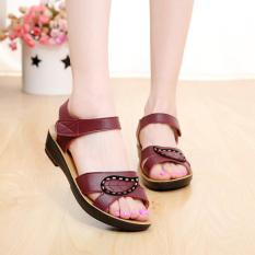 Kulit Lembut Sepatu Datar untuk Wanita, China Hamil Ibu Sepatu Sandal Bertumit Rendah (11308 Merah)
