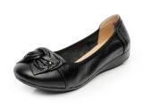Kulit Sepatu Hak Perempuan Datar Dengan Sepatu Santai Hitam Tiongkok Diskon 50