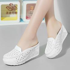 Spek Sepatu Sandal Wanita Kulit Asli Hak Wedges Bagian Depan Tertutup Berongga Mawar Pola Mawar Pola