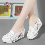 Jual Sepatu Sandal Wanita Kulit Asli Hak Wedges Bagian Depan Tertutup Berongga Putih Putih Termurah