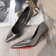 Harga Kulit Paten Hitam Perempuan Non Slip Sepatu Kerja Sepatu Heels Pistol Warna Matt Sepatu Wanita High Heels Sepatu Wanita Wedges Branded