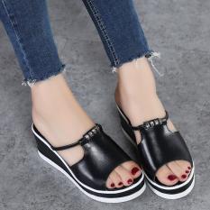 Jual Sandal Summer Wanita Kulit Sandal Jepit All Match Modis Sol Tebal Hitam Hitam Sepatu Wanita Sandal Wanita Oem Branded