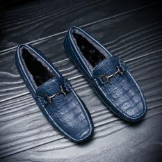 Sepatu Tods Pria Pola Kulit Buaya Kulit Asli Versi Korea (Biru [Ditambah]) (Biru [Ditambah])