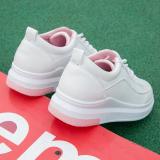Spek Kulit Putih Sol Tebal Papan Sepatu Sepatu Kets Putih Merah Muda