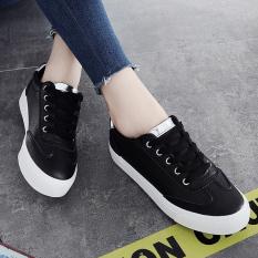 Obral Sepatu Kets Bertali Wanita Sol Datar Serpihan Mengkilap Santai Versi Korea Blacksilver Sepatu Wanita Sepatu Sport Sepatu Sneakers Wanita Murah
