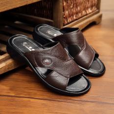 Toko Kulit Ukuran Besar Pria Sandal Kulit Pria Sandal Sandal Coklat Gelap Lengkap Di Tiongkok