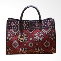 Kuppu Batik & Tenun Melane Bali Leather Tote Bag - Dark Brown