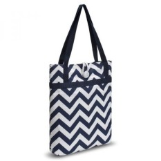 Kuzy - Navy Blue Chevron Zig-Zag Travel Tote Bag Cotton Handmade 16-inch for MacBook and Laptop, Book Bags - Navy Blue