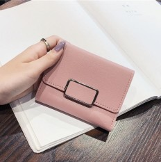 KX 2018 Wallet woman short, small fresh three fold ultra thin money clip Korean Mini simple student zero Purse - intl