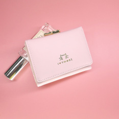 KX Japan and South Korea new ladies wallet short paragraph three fold hand bag cute wallet student mini purse - Pink - intl