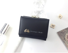 KX Korean version of the new small change purse female short paragraph cartoon mini cute multi-card three fold wallet - Black - intl
