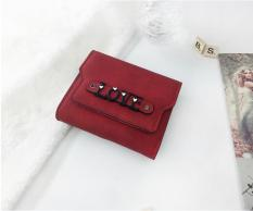 KX Wallet female short section three fold large-capacity multifunctional simple fashion retro clutch - Red - intl