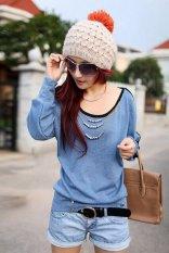 Spek Kyoko Fashion Blouses Biru Blue