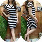 Jual Kyoko Fashion Dress Salur V Neck Pendek Salur Baru