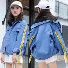 kyoko fashion jaket jeans over size - (biru)