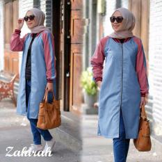 Kyoko Fashion Tunics jaket bomber - (blue red)