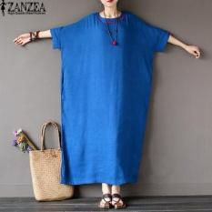 L-5XL ZANZEA Wanita Terlalu Besar Round Leher Kasual Longgar Panjang Maxi Gaun Musim Panas Ladies Batwing Setengah Lengan Kaftan Gamis Vestido (biru) -Intl