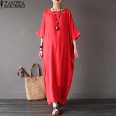 L-5 XL Zanzea Wanita Kebesaran Leher Bulat Kasual Longgar Panjang Maxi Gaun Musim Panas Ladies Batwing Setengah Lengan Kaftan Gamis Vestido (Merah)