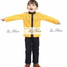 L Nice Koko Boys Set Baju Koko Anak Atasan Kuning Celana Hitam