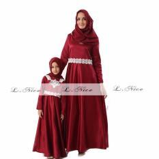 L Nice Setelan Gamis Kaftan Mommy Couple Muslim Dress Red