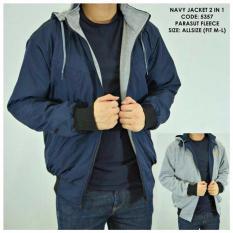 L_S fashion jaket pria DC parasut bolak-balik biru tua-abu muda keren.