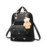 Harga La Vie Casual Pu Women Girls Backpack Sch**l Bag With Bear Doll Black Yang Bagus