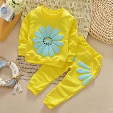 La Vie Girls Bunga Suit Setelan Celana Panjang dan Kemeja Lengan Panjang dengan Bunga Matahari (Kuning)