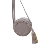 Beli La Vie Tassel Round Menenun Cross Body Shoulder Bag Grey Intl Oem