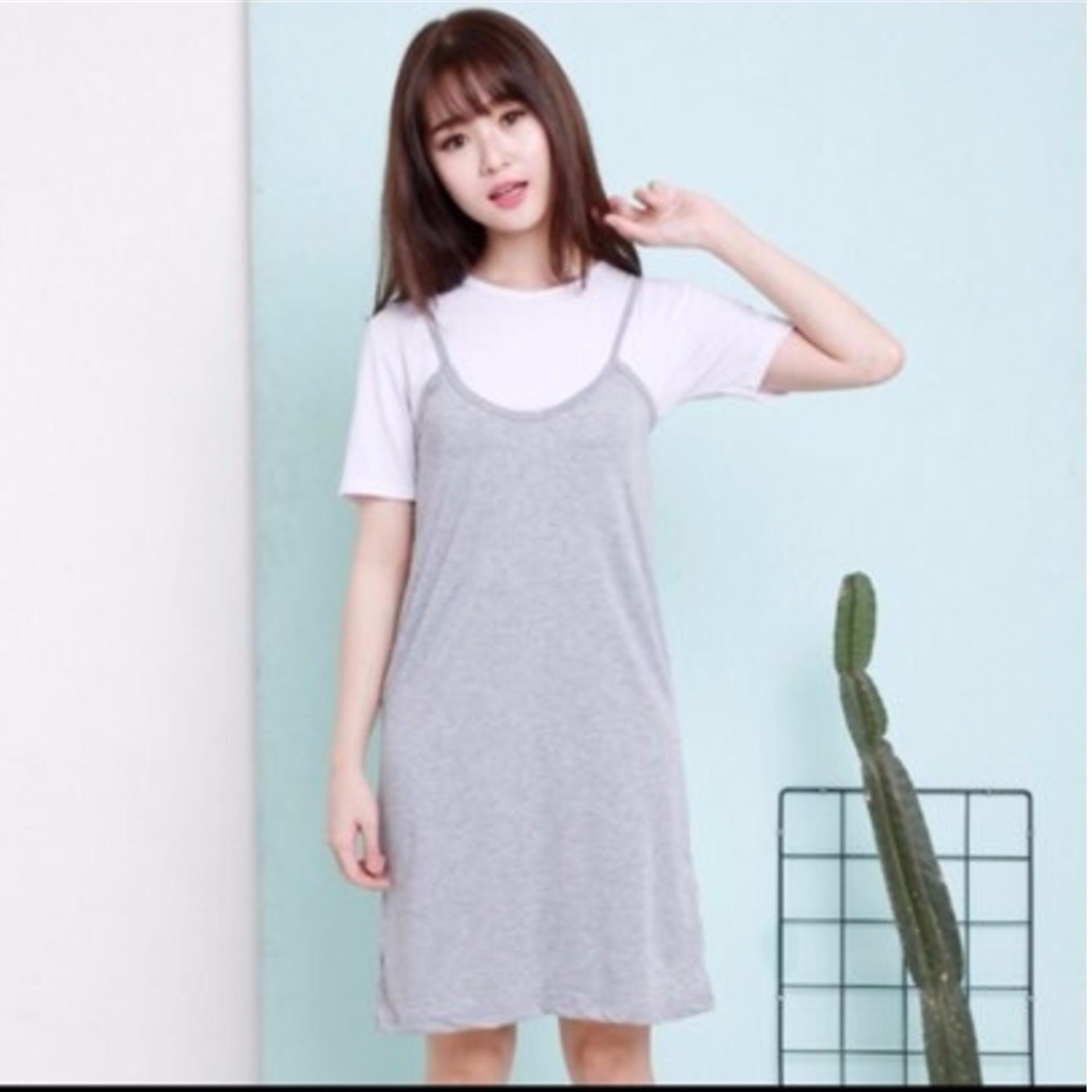 Outer Dress + Inner Crop Tshirt Pinafore Set Outer Inner